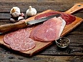 Italian cold cuts platter with Parma ham, Bresaola and Milan salami