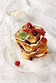 French toast with mascarpone cream and jam