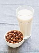 Hazelnut milk with hazelnuts
