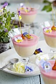 Rose water panna cotta topped with candied pistachios