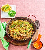 Fried rice with barley and chicken
