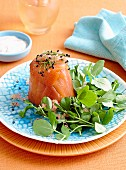 Smoke salmon and avocado timbales