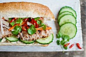 Banh Mi (sandwich with pork, fresh cucumber, mayonnaise, chillis, gherkins and coriander, Vietnam)