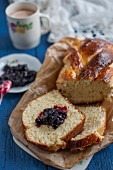 Sweet bread plait with jam