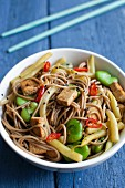 Soba noodles with tofu, broad beans, yellow beans, black sesame seeds and chillis