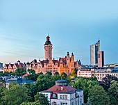 Blick auf das Rathaus, Leipzig, Deutschland