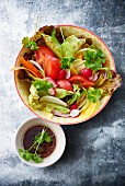 Vegetable salad with is a soya dressing