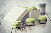 Matcha macaroons with a gift box