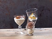 Espresso-on-top dessert and lemon, vanilla and chocolate ice cream in glasses