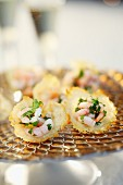 Prawn canapés on a festive platter