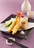 Scampi and vegetables in tempura batter