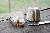Ziegenkäse mit Brotscheibe auf Holztisch