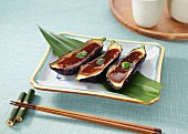 Grilled aubergines topped with miso sauce (Japan)