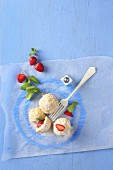 Quark dumplings with strawberries (seen from above)