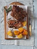 Rib-eye steak with exotic mushrooms and potatoes