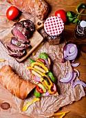 A steak sandwich with ingredients