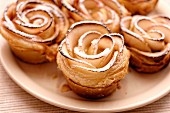 Puff pastry apple roses baked in muffin tins
