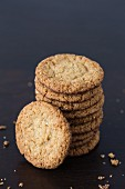 A stack of chocolate oat biscuits