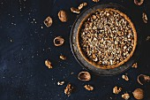 Caramel and walnut tart