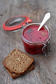 Beetroot soup and slices of bread