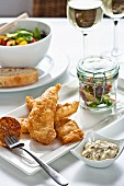 Battered fish with salad and tartare sauce