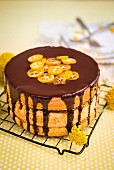 Chocolate-orange layer cake with marmalade and chocolate glaze