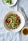 Quinoa salad with cucumber, tomatoes and mint
