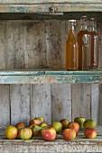 Mehrere Flaschen Apfelsaft und Äpfel (Jonagold) in einem rustikalen Schrank