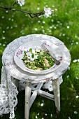 Hirsesalat mit Spargel, Erbsen, Ziegenkäse und frischer Minze auf altem Gartenstuhl