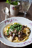 Pappardelle with wild mushrooms and lovage
