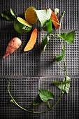 Süsskartoffel und Zitrusfrucht mit Efeuzweig