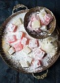 Turkish delight dusted with icing sugar