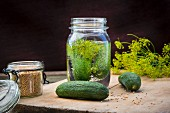 Gherkins being pickled