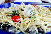 Linguine with seafood and cherry tomatoes