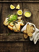 Crab claws with grilled bread and a lemon dip