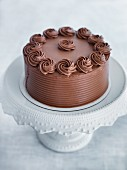Chocolate cream cake on a cake stand