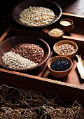 Various types of grains in wooden bowls in a rustic setting