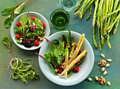 Asparagus salad with nuts and raspberry vinaigrette