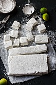 Homemade lime marshmallows, partially diced