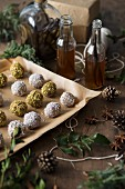 Vanilla truffles with pistachios nuts, coconut and homemade vanilla extract