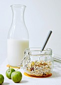 Muesli with almond milk and greengages