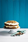 A classic carrot cake with cream cheese frosting