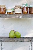 Grandma's recipe: jars of homemade pear and onion chutney
