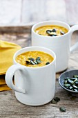 Parsnip and butternut squash soup with pumpkin seeds
