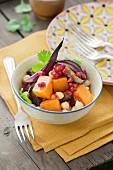 Butternut squash with chick peas, roasted aubergines, red onions, coriander and pomegranate seeds