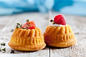Two mini Bundt cakes one with a savoury and one with a sweet filling