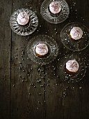 Cupcakes with pink buttercream and silver pearls