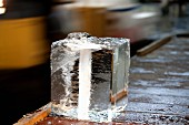 A large block of ice at the Tsukiji fish market in Tokyo, Japan