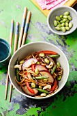 Noodles with beans, peppers, plums and cashew nuts with a soya dressing