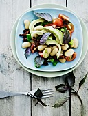 Butter bean salad with avocado, tomatoes and basil